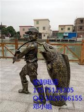 鑄銅小孩與魚雕塑 玻璃鋼仿真少年與魚銅雕