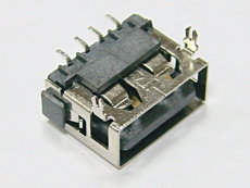 前插后贴两脚USB母座 AF 90度SMT直边-6.8H